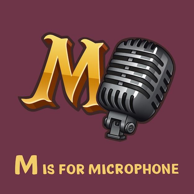 Alfabet Dla Dzieci Litera M I Mikrofon Premium Wektorów