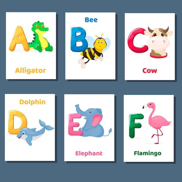 Alfabet druku flashcards wektor zbiory z literą abcde f. zoo zwierzęta do nauki języka angielskiego. Premium Wektorów
