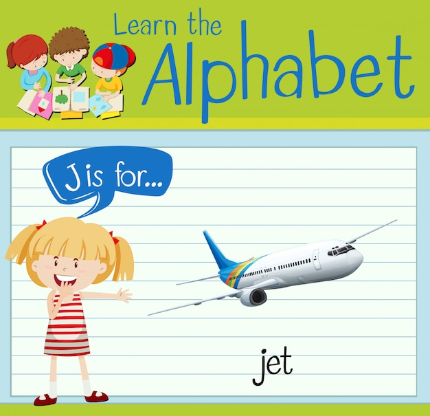 Alfabet Flashcard J Jest Dla Odrzutowca Premium Wektorów