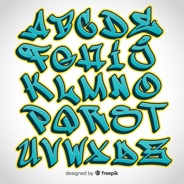 Alfabet graffiti Darmowych Wektorów