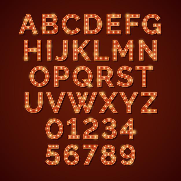 Alfabet jasny alfabet żarówki, czcionki wektorowe Premium Wektorów