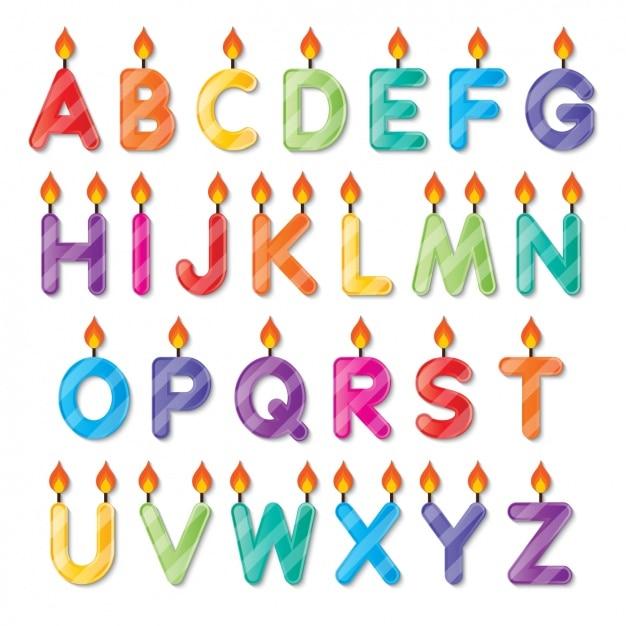 Alfabet kształcie świeczki urodzinowe Darmowych Wektorów