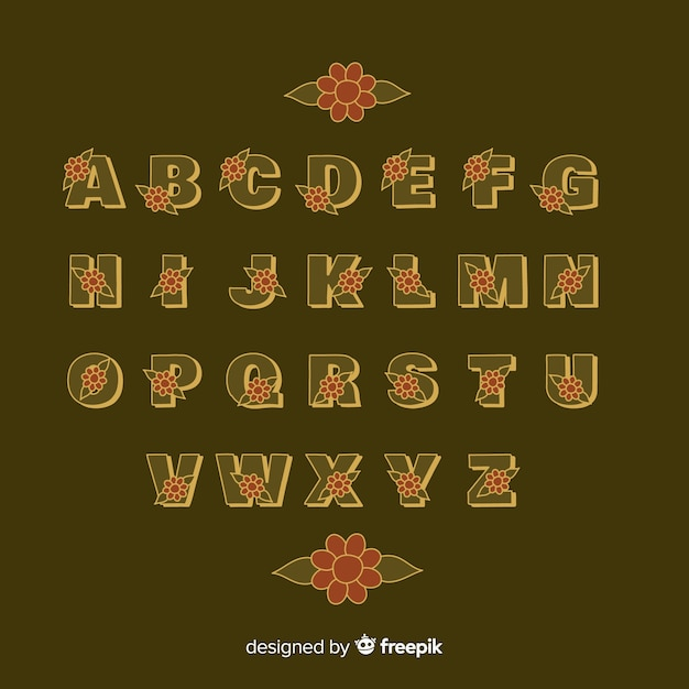 Alfabet Kwiatowy W Stylu Lat 60-tych Na Brązowym Tle Darmowych Wektorów