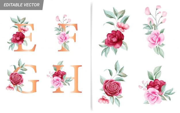 Alfabet Kwiatowy Zestaw Z Elementami Akwarela Kwiaty Premium Wektorów