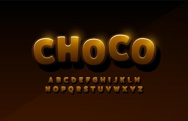 Alfabet łaciński Czekolady. Projekty Komiksów Typografii Premium Wektorów