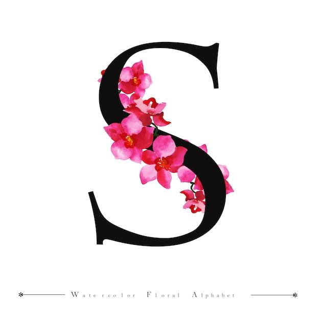 Alfabet Litera S Akwarela Kwiatowy Tło Wektor Premium Pobieranie