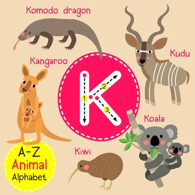 Alfabet litery k zoo Premium Wektorów