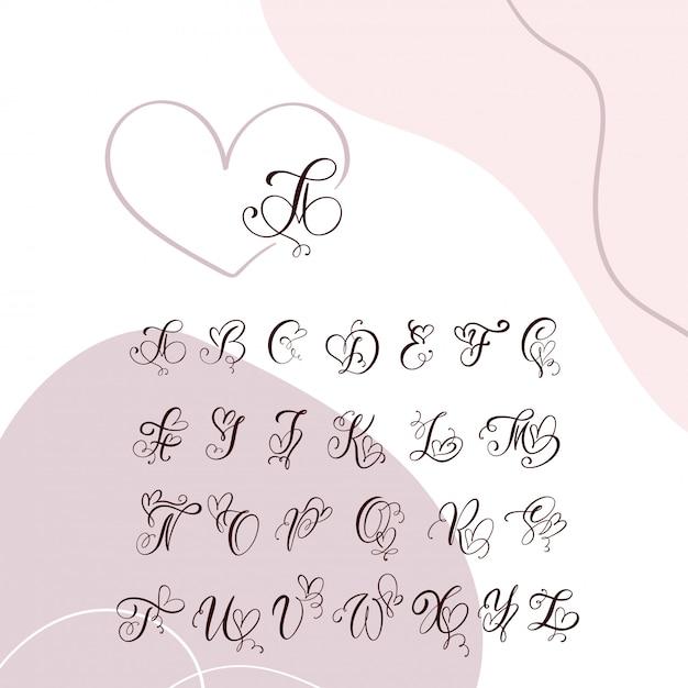 Alfabet Monogram Odręcznie Serca Kaligrafii. Premium Wektorów