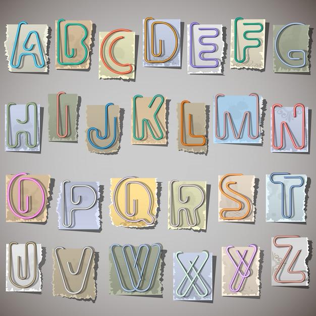 Alfabet na starym papierze Premium Wektorów