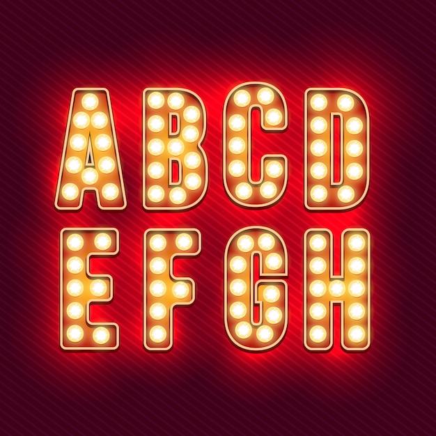 Alfabet retro. realistyczne litery vintage. żarówki neonowe. czerwone litery retro. zestaw starych listów vintage. świecić w ciemności. Premium Wektorów