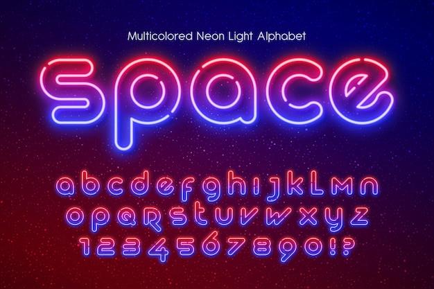 Alfabet światła Neonowego, Dodatkowo świecący Futurystyczny Typ. Kontrola Koloru Próbki. Premium Wektorów