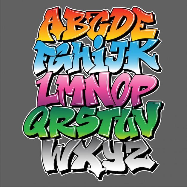 Alfabet Wandal W Stylu Graffiti, Litery Z Efektem Aerozolu. Premium Wektorów