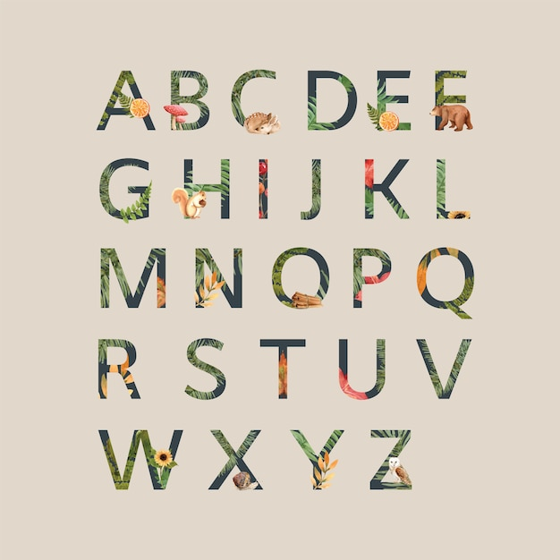 Alfabet z motywem jesieni Darmowych Wektorów