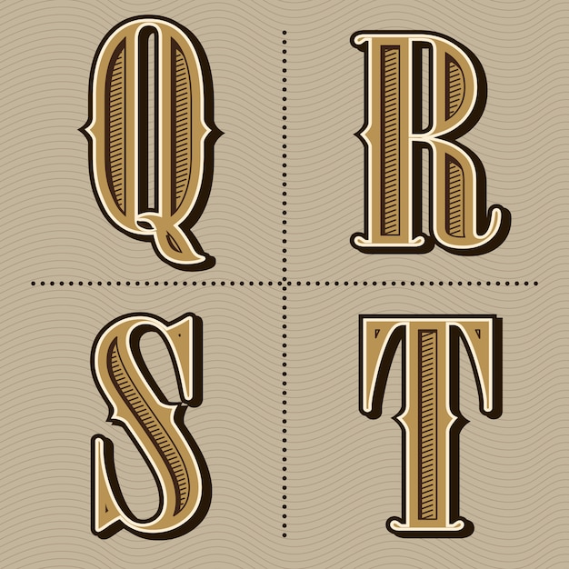 Alfabet zachodnich liter rocznika projekt wektor Premium Wektorów
