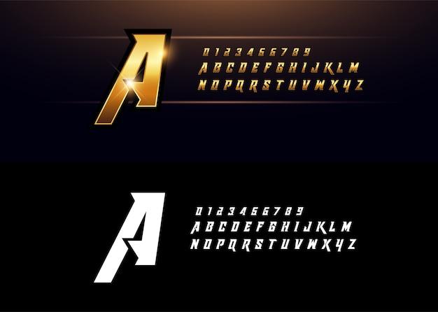 Alfabet złoty metalik elegancki złoty litery czcionki Premium Wektorów