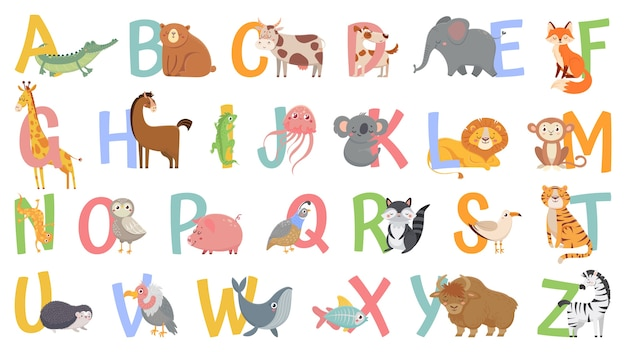 Alfabet Zwierząt Kreskówek Dla Dzieci. Dowiedz Się Litery Z Zabawnym Zwierzęciem, Zoo Abc I Alfabetem Angielskim Dla Dzieci Premium Wektorów