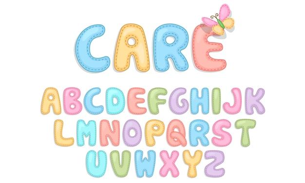 Alfabety pielęgnacyjne dla dzieci Premium Wektorów