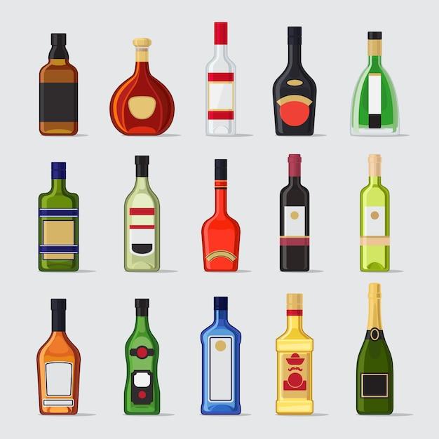 Alkohol w butelce płaskie ikony Premium Wektorów