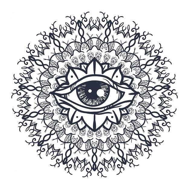 All Seeing Eye In Mandala Premium Wektorów