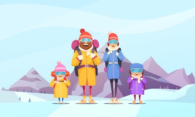 Alpinizm Kreskówka Rodzinne Wakacje Z Ojcem Matką 2 Dzieci Na Tle Alpejskich Gór Darmowych Wektorów