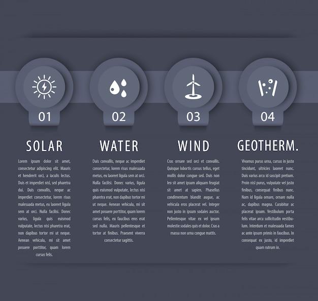 Alternatywne Rozwiązania Energetyczne, Energia Słoneczna, Energetyka Wiatrowa, Elementy Infograficzne, Szara Oś Czasu Premium Wektorów