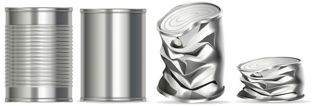 Aluminiowa Puszka Bez Etykiety Premium Wektorów