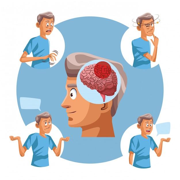 Alzheimer postać starego człowieka Premium Wektorów