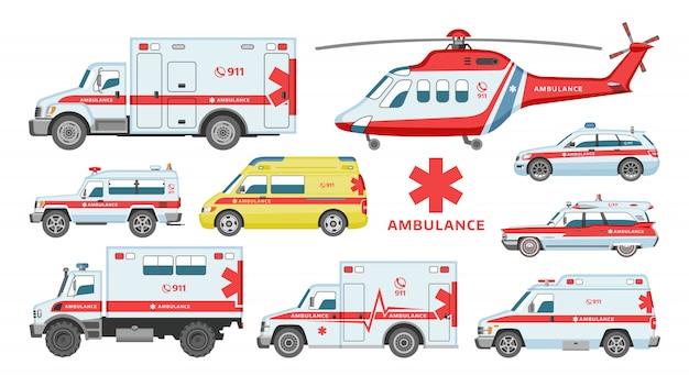 Ambulansowy Samochód Pogotowia Ratunkowego-pojazd Lub Furgonetka Premium Wektorów