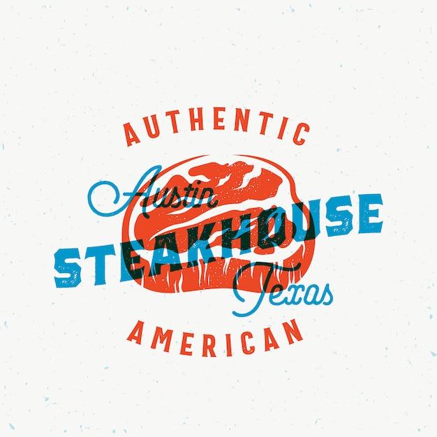 American Steakhouse Vintage Wektor Etykieta, Karta, Godło Lub Szablon Logo. Premium Wektorów