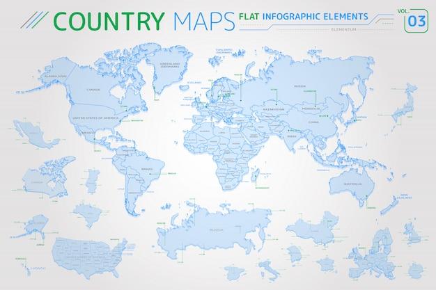 Ameryka, Azja, Afryka, Europa, Australia, Oceania, Meksyk, Japonia, Kanada, Brazylia, Usa, Rosja, Chiny Mapy Wektorowe Premium Wektorów