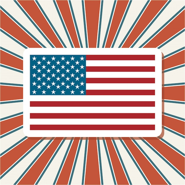Amerykańską flagę nad sunburst Darmowych Wektorów