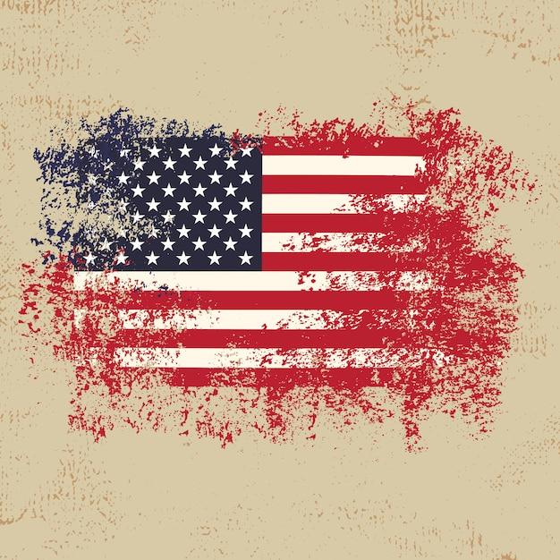 Amerykańską Flagę Z Premuim Wektora Tle Stylu Grunge Premium Wektorów
