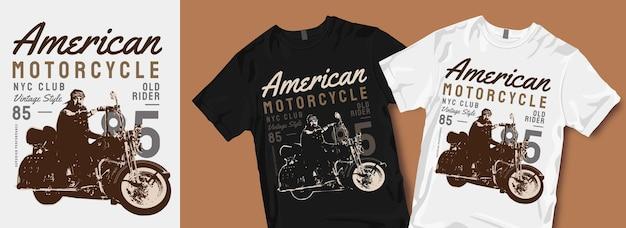 Amerykańska Koszulka Motocyklowa Projektuje Towary Premium Wektorów