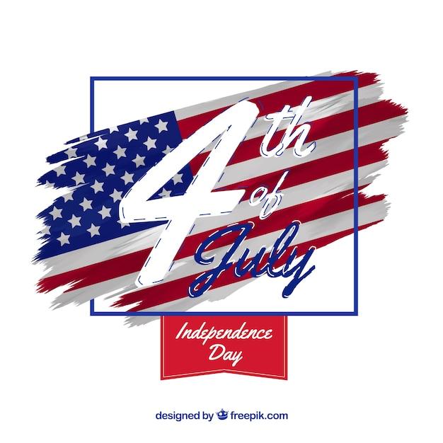 Amerykański Dzień Niepodległości Z Flagą I Datą Darmowych Wektorów