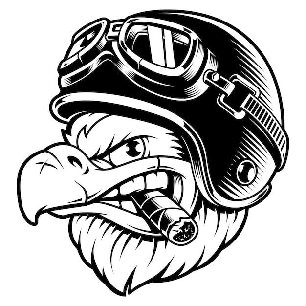 Amerykański Orzeł Z Cygarem. Ilustracja Motocyklisty Z Kaskiem Rowerzysty. Grafika Koszulowa. Na Białym Tle. Premium Wektorów