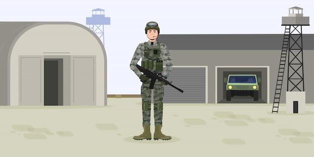 Amerykański żołnierz W Amunicji W Obozie Lub Bazie. Wojownik Z Pistoletem Lub Karabinem, Hełmem I Amunicją. Dzień Niepodległości Premium Wektorów