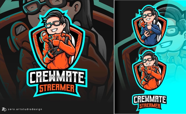 Among Us Crewmate Streamer Esport Logo Premium Wektorów
