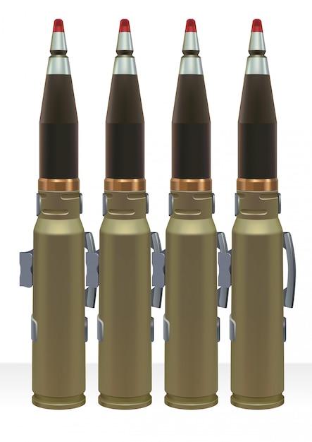 Amunicja dużego kalibru do automatycznego pistoletu. Premium Wektorów