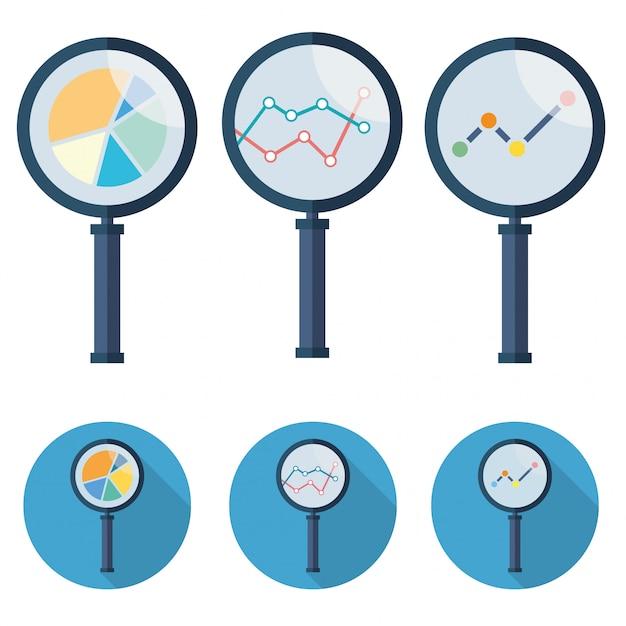 Analityczne Wektorowe Ikony Powiększające Szkło Ustawić Symbol Premium Wektorów