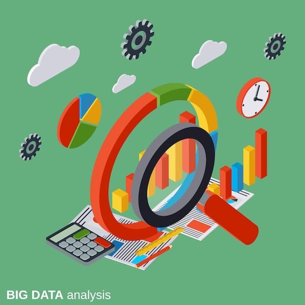 Analiza danych dużych izometrycznych wektor ilustracja koncepcja Premium Wektorów