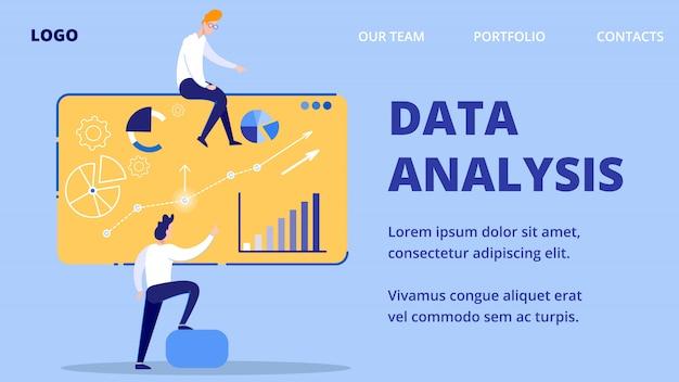 Analiza danych, postacie prowadzą prezentację internetową. Premium Wektorów