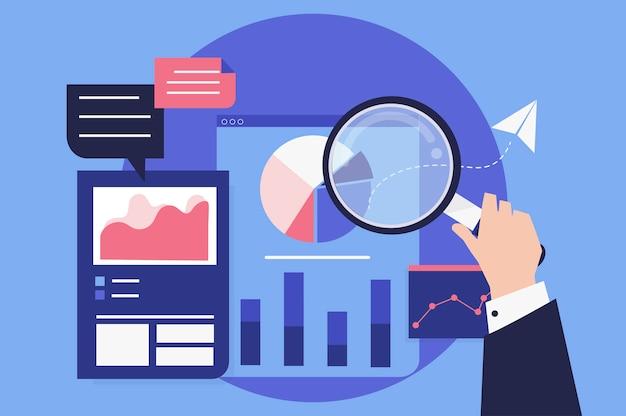 Analiza wydajności biznesowej z wykresami Darmowych Wektorów