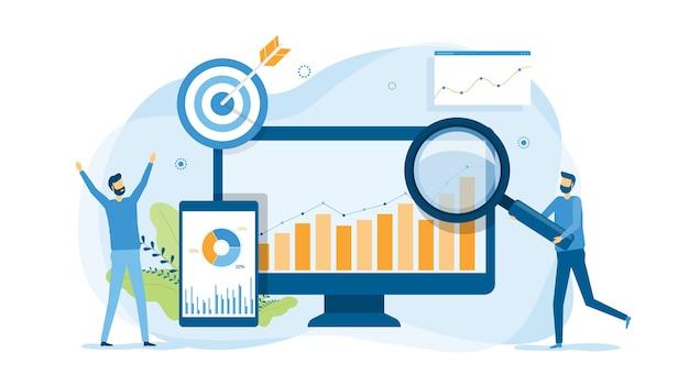 Analizy I Monitorowanie Ludzi Na Koncepcji Monitora Pulpitu Nawigacyjnego Raportu Internetowego Premium Wektorów