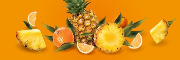 Ananas I Pomarańcze Na Pomarańczowym Tle Premium Wektorów