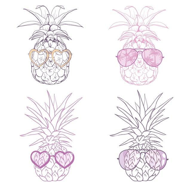 Ananas W Okularach Tropikalny, Wektor, Ilustracja, Projekt, Egzotyczny, Jedzenie, Owoc Premium Wektorów