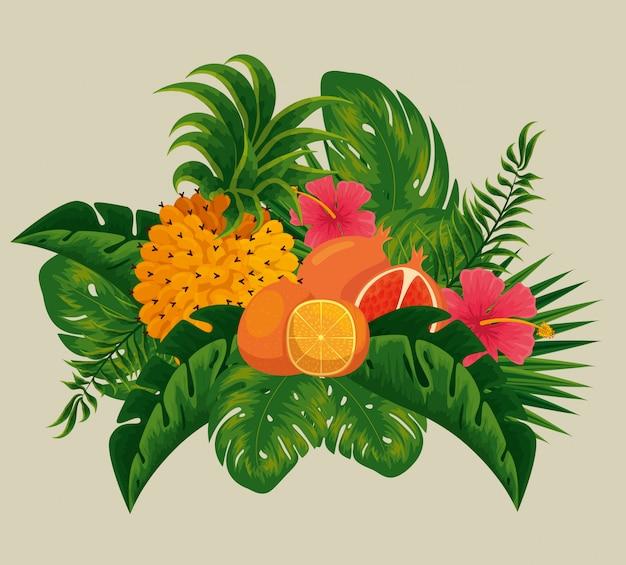 Ananas Z Owocami Pomarańczy I Granatów W Liściach Premium Wektorów
