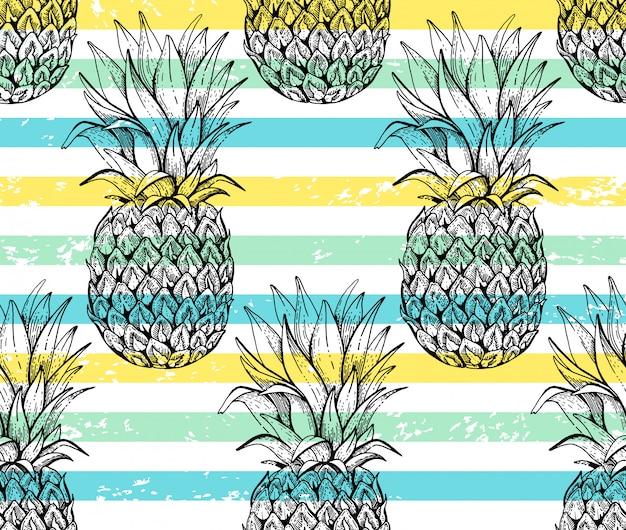 Ananasowy wzór, szkic doodle tekstura. Premium Wektorów