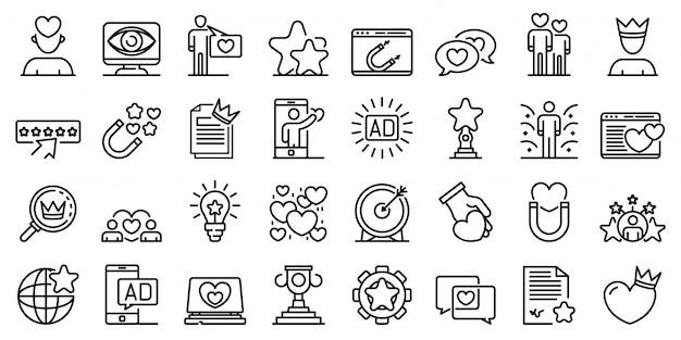 Angażujący zestaw ikon treści, styl konturu Premium Wektorów