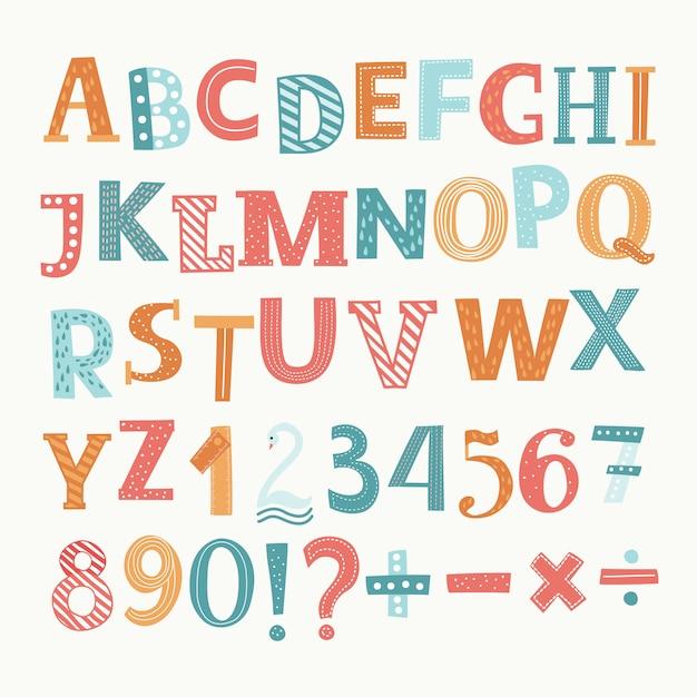 Angielski Alfabet I Cyfry. Podział, Dodawanie, Znak, Znak Minus Premium Wektorów