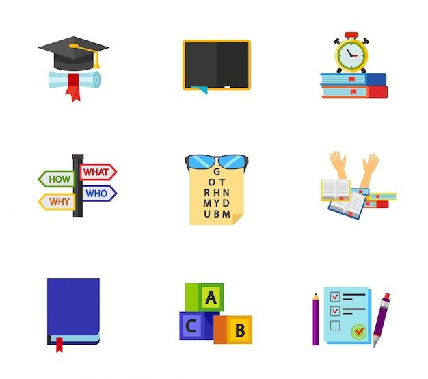 Angielski zestaw ikon egzaminu Darmowych Wektorów